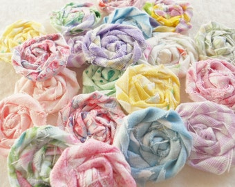 """Fabric Flowers Pastel Rolled Roses Candy Applique Hairclip Pinwheel Lollipop Bobby Pin Rosette 1"""" Scrapbook Handmade Wholesale 20"""
