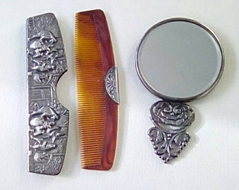 Vintage Hans Jensen Silver Plated Comb and Mirror Set Repousse Design
