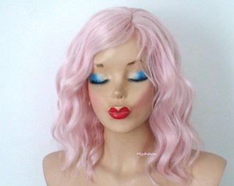 Pink wig. Pastel pink wig. Short wig. Beach waves hairstyle wig. Baby pink hair wig. Durable heat friendly wig for daily use or Cosplay.