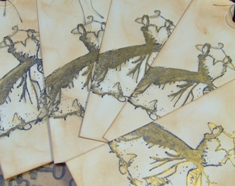 Vintage Themen Glitter Dress Geschenkanhänger oder Reise-Tags - 5 mittlere Tags - Hochzeit - Brautjungfer