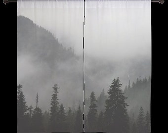Sheer Curtains - Forest, Treescape, Fog, Gray, Home Decor, nature photography by RDelean Designs