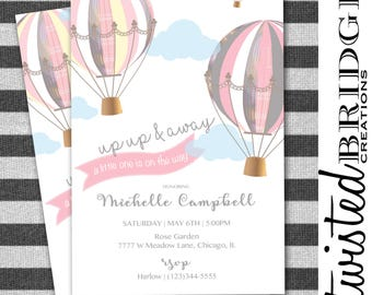 PRINTABLE Up Up and Away Air Balloon Baby Shower Invitations