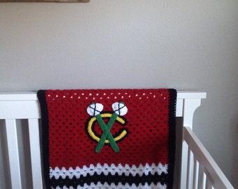 Chicago Blackhawks inspired crochet blanket // baby shower gift // photo prop