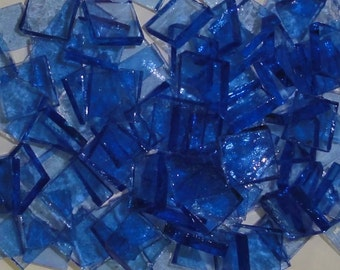 "100 1/4"" Lt CORNFLOWER BLUE Transparent Stained Glass Mosaic Tiny Tiles T13"