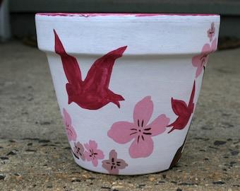Cherry Blossom Hand Painted Flower Pot