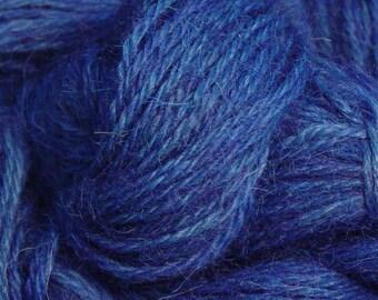 Hand Dyed Alpaca Yarn in Blue - Finger Wt - 250 yds