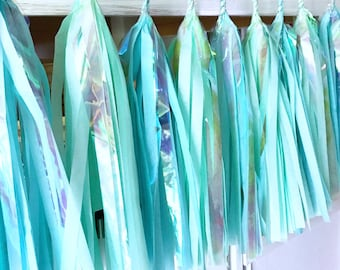 Free Shipping - Iridescent Blue Green Tassel Garland - Wedding Decor - Room decor - Nursery Decor - Photo Prop