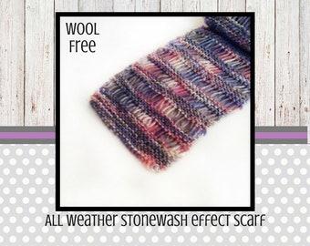 Long summer scarf, lightweight scarf, vegan knit, summer fashion, acrylic yarn, vegan style, stonewash effect, for women