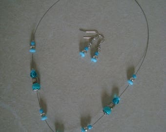 Blue fancy cow pendant jewelry set