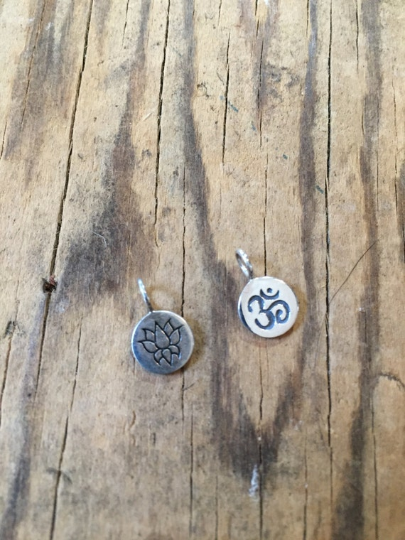 Sterling Silver Lotus Charm , Sterling Silver Om Charm Add a charm to your mala tassel