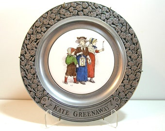 Kate Greenway Pewter And Ceramic Plate, Wilton, 1973