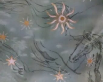 FABRIC PEGASUS/Greek Mythical Winged Horse By NNA For Fabics Visions/Green