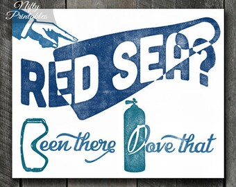 Scuba Diving Print - PRINTABLE Red Sea Scuba Poster - Scuba Diving Art - Scuba Diver Gifts - Retro Vintage Red Sea Diving Print