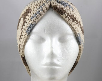 Turban Hat for Cancer Patients in Tan, Brown and Gray Ombre - Cancer Hat/Chemo Hat/Cancer Cap/Chemo Cap