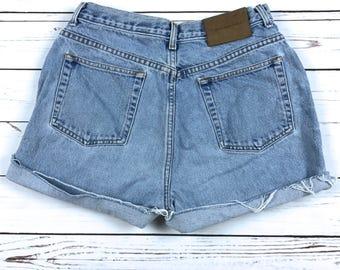 "VTG 90s Calvin Klein High Waisted Denim Cutoff Shorts Size: 30"""