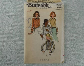 Butterick Sewing Pattern 6525 shirt blouse from the 1970s size 14