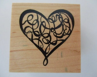 PSX C-2840 rubber stamp mounted on wood - heart, floral