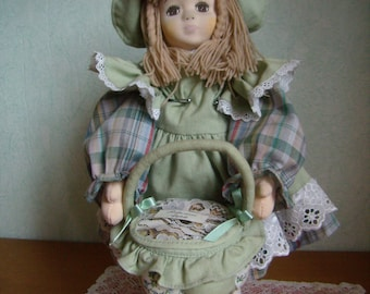 Fabric, Walldorf/Steiner inspired, 35 cm, Vintage 1980s doll