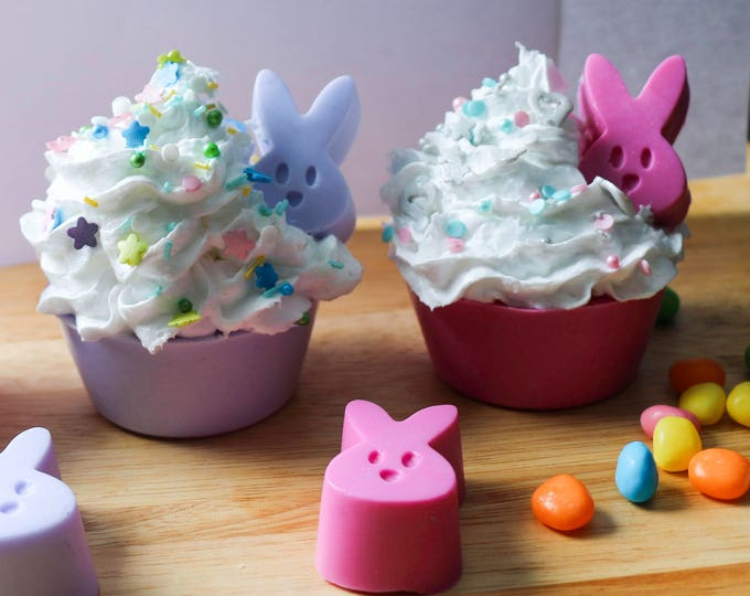 Peek a Boo Bunny Frosted Soap Cupcake in Lilac, Jolly Rancher Jelly Bean and Lemon Essential, Easter Gift, Easter Basket Gift, Guest Soap,