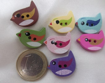 Set of 10 wooden buttons painted form birds, 22 * 15mm mix colors