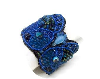 Beadwork cuff bracelet, whimsical fish bracelet, blue horoscope Pisces bracelet, embroidered bracelet, adjustable cuff