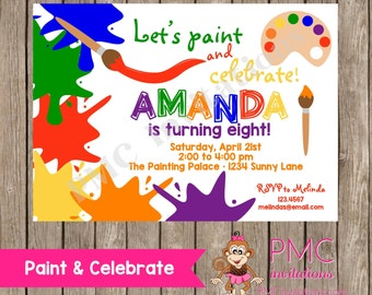 Art Invitations, Art Party, Painting Birthday Party ,Paint Pallette, Crafts, Birthday, Boy,Girl, Party Invitations - 1.00 each with envelop
