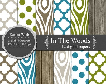 In The Woods Digital Paper Kit Instant Download for digital scrapbooking, invites, card making