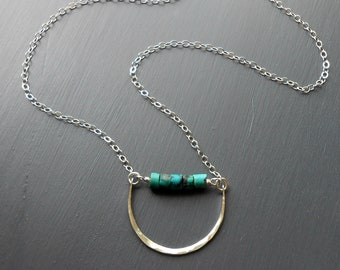 Turquoise Necklace, Long Sterling Silver Pendant Necklace