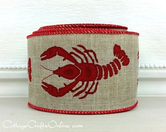 "Wired Ribbon, 2 1/2"" Red Crawfish on Tan Faux Linen - TEN YARD ROLL -  ""Gumbo Bold"" Summer, Americana, Louisiana Wire Edged Ribbon"