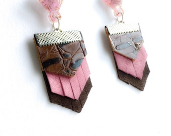Pink leather earrings, arrow head leather earrings