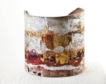 Earth Tone Bracelet, Leather Cuff, Minimal Modern Jewelry Gift