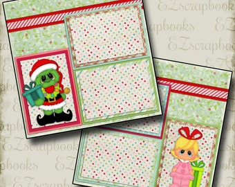 GRINCHY - 2 Premade Scrapbook Pages - EZ Layout 784