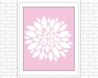 Floral Print | 8x10 Printable Art Print | Home Wall Art | Home Printable | Dahlia Subway Art | Instant Download Printable, Pink, Rose