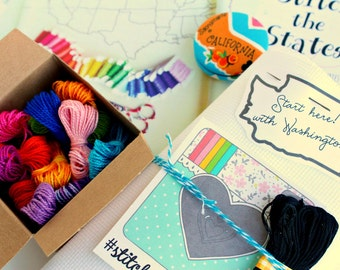COMPLETE KIT Memorial Day sale! Stitch the States - large US map embroidery or cross stitch
