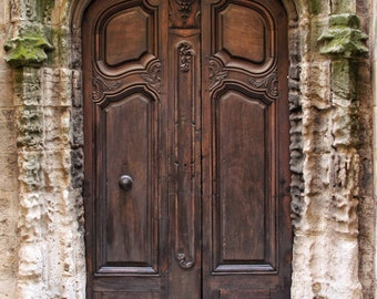 Fine Art Photography, old wooden door, 8x12, Arles, France, stone wall, moss