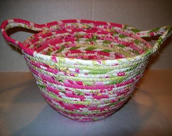 Handmade Coil basket, medium round clothesline basket storage basket egg basket coiled fabric basket, handle basket pink lime green . INVA32