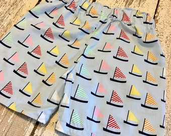 Boys sailboat shorts, boys boat shorts, baby boys boat shorts, Madras plaid shorts, boy boat shorts, sailboat shorts for boys