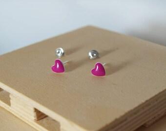Heart earrings, Hearts, Enamel, Stud earrings, Silver Studs, Sterling silver 925, Fuchsia hearts, Enamel earrings, Enamel hearts, Handmade