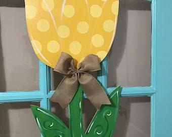Spring Yellow  Tulip Wooden Door Hanger