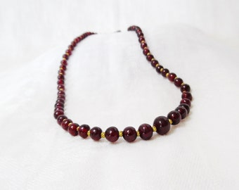 Garnet and Gold Bead Necklace