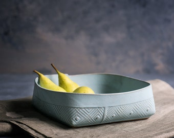 Ceramic Bowl, Blue Ceramic Serving Bowl, Modern Fruit Bowl, Light Blue Salad Bowl, Geometric Pattern Salad Bowl, Blue ceramic Dinnerware
