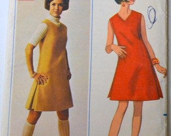 Vintage 60's A Line Dress Sewing Pattern Butterick 4719 A Line Dress  Bust 34 inches Uncut Complete