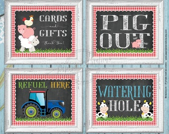 Watering Hole Sign - Pig Out - Blue Tractor Refuel Here - Cards and Gifts - Pack of 4 Printable Signs - Farm Animals Party  Instant download