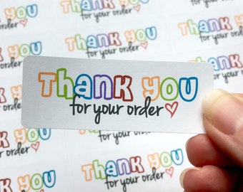 Rainbow - Thank you Labels / Thanks labels - small shop stickers - small business packaging - pretty packaging - 30 labels