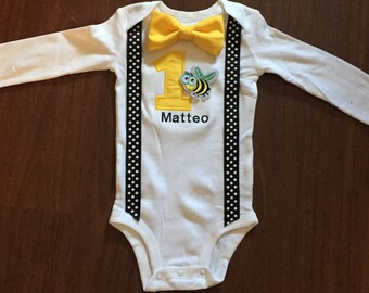 Bumble bee Embroidered First birthday, Boys birthday outfit, Baby boy first birthday, Bumble bee baby boy