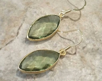 Green Amethyst Earrings Gold Prasiolite Earrings Gold Vermeil Earrings February Birthstone Jewelry Green Leaf Shape Dangle Drop Earrings