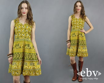 Elephants Dress Indian Dress India Dress Hippie Dress Hippy Dress Boho Dress Bohemian Dress Indian Cotton Dress 1970s Dress 70s Dress M