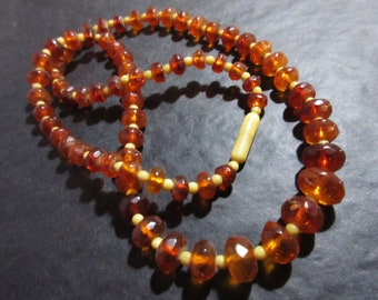 NECKLACE genuine old Amber faceted & other beads Genuine AMBER Necklace