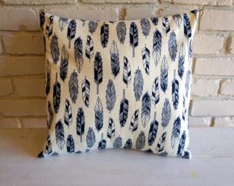 Black Feather Flannel Pillow Cover - Throw Pillow - 16 x 16 inch pillow cover - 16 inch pillow cover - Nature Pillow - Bird Pillow