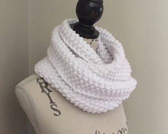 Knit infinity scarf, knitted scarf in white